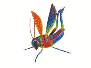 Grasshopper, Blas Alebrije, blue/orange, 9.5-inch long