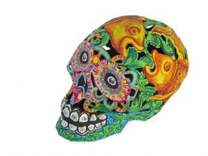 Skull, Paper Maché Art, green with fish, 7-inch