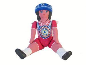 Muńeca Doll, paper mache art, pink, 12-inch