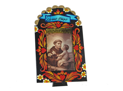 Mexican Tin Nicho, Saint Anthony with Jesus, sepia print in hand-painted frame, 6-inch