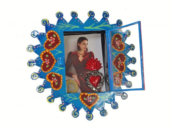 Mexican Tin Nicho, Blue Heart, Empty Frame - Decorate with your own keepsakes