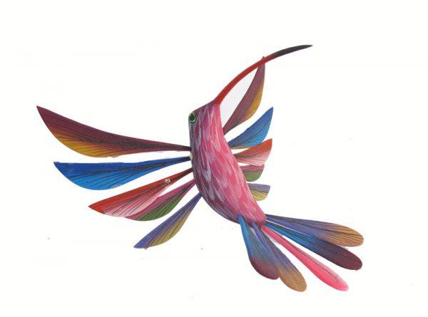 Hummingbird, Oaxacan Wood Carving, blue
