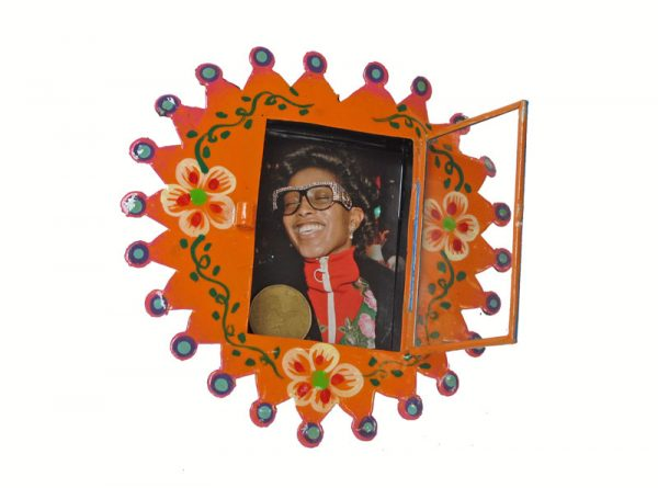 Mexican Tin Nicho, Empty Frame, hand-painted, orange heart. Customize with your own photo
