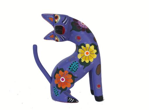 Cat Alebrije, sitting tilted, lavender 4.5-inch