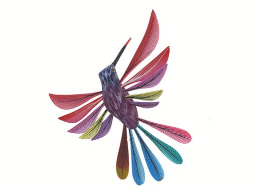 Hummingbird, Oaxacan Wood Carving, purple/red