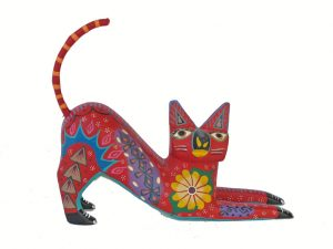 Cat Alebrije By Roberta Angeles, laying, red 5.5-inch long