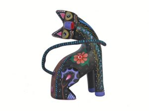 Curious Cat sitting with tilted head, blue, by Roberta Angeles, 3.5-inch