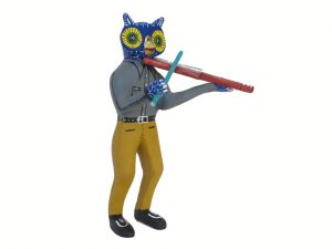 Owl Violin Player, Oaxacan Carving, 7-inch
