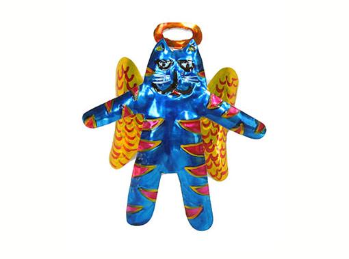Angel Cat, painted tin figure, blue
