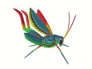 Grasshopper, red/orange, Blas Alebrije, 9.5-inch long