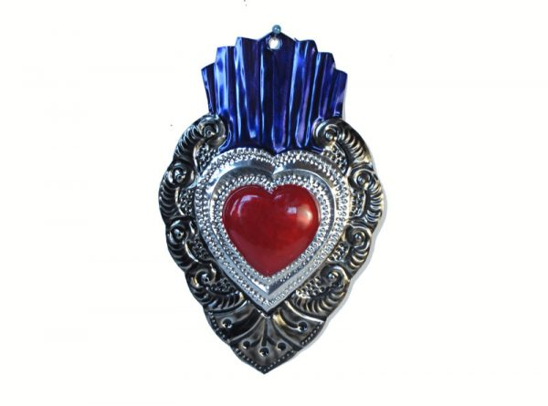 Heart with Blue Flame, Silver Border, 6.5-inch