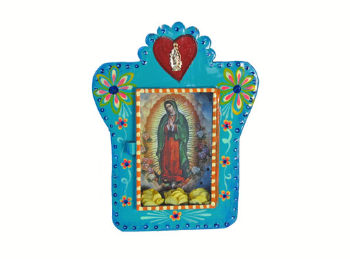 Mexican Tin Nicho, Lady of Guadalupe print in turquoise frame with roses, 7-inch