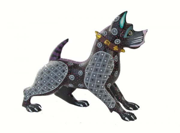 Dog, American Pit Bull, Oaxacan Wood Carving, grey/blue