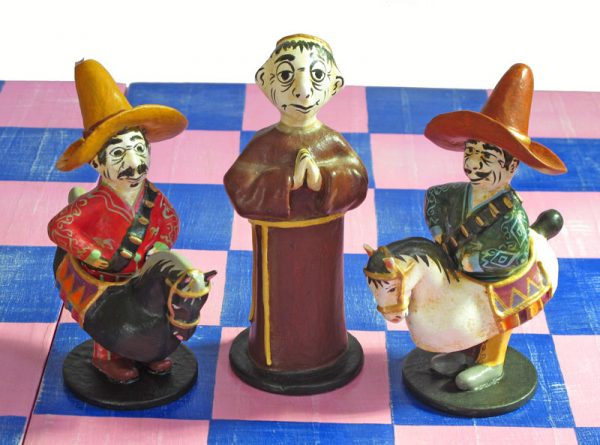 CHESS SET Mexican Theme, Paper Maché Figures, Super-Size, Handcrafted in Mexico