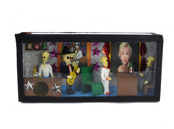 Cantina Scene w/Marilyn Monroe portrait, Day of Dead diorama box