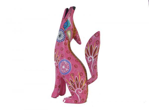 Coyote, Oaxaca Alebrije, dark pink, 8.5-inch tall
