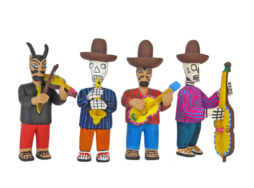 Day Of Dead Musical Band, wooden alebrijes 6-inch
