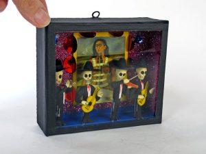 Skeleton Mariachis with Frida Portrait, diorama box #3