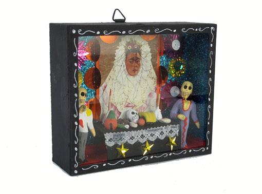 Altar Scene with Frida Kahlo Portrait, Skeleton Diorama