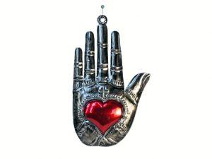 Hamsa Hand with Heart, Mexican Tin Art, 5l.5-inch