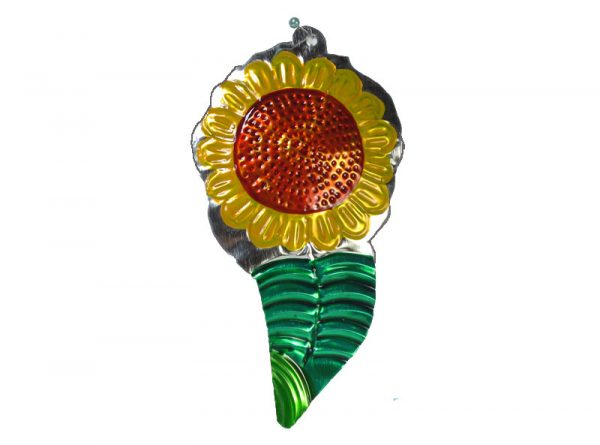 Sunflower with leaf, Mexican tin ornament, 5-inch