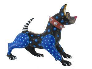 American Pit Bull Dog, Oaxacan Wood Carving, black/blue spots, 6-inch long