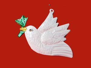Shalom Peace Dove, Tin Ornament, 5.5-inch