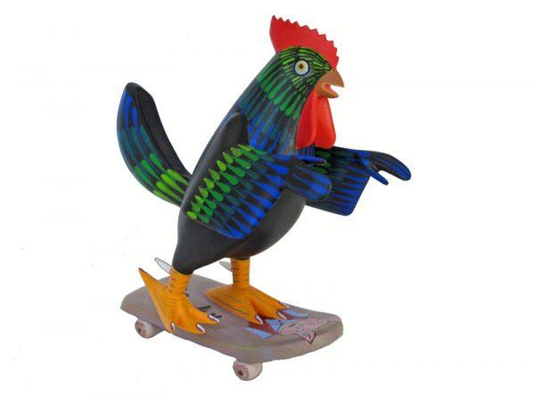 Chicken on Skateboard, Oaxacan carving by Avelino Perez, black