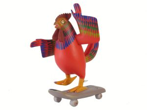 Chicken on Skateboard, Oaxacan carving by Avelino Perez, red