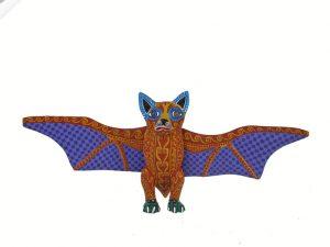 Bat, Oaxacan Wood Carving, brown/purple, 13-inch wingspan