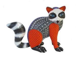 Red Raccoon Alebrije Carving, 8-inch