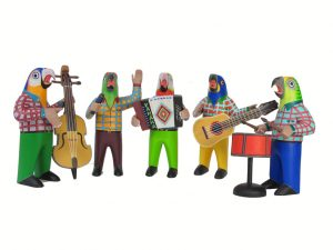 Parrot Birds Musicos Band, Oaxacan Carvings by Avelino Perez