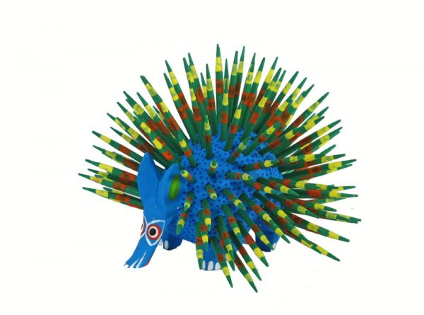 Porcupine, Oaxacan Wood Carving, green quills, 3.5-inch diameter