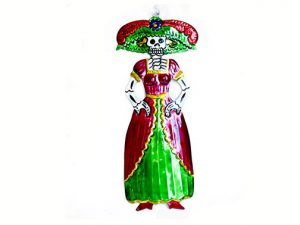 Catrina, painted tin wall plaque, 8.5-inch
