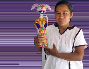 betha cruz holding day of the dead art